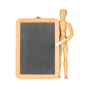 Wooden mannequin and chalkboard isolated on white