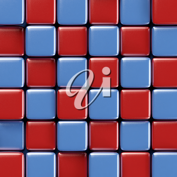 Abstract geometric background with brightly colored blue and red cubes of various height.