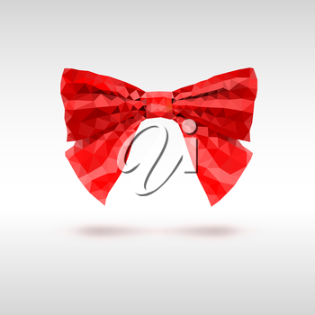 Red bow of triangles. Geometric vector illustration.