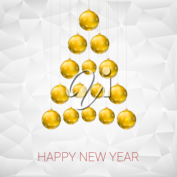 Christmas tree made from yellow christmas balls against the background of flat triangles with shiny sparkles. Vector 3D illustration, template for your greeting card