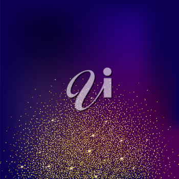 Gold glitter bright vector, colored background. Golden sparkles, shiny texture,. Excellent for your greeting cards, luxury invitation, advertising, certificate
