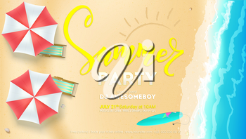 Summer party on seascape seashore with sandy beach. Top view of summer beach with waves of surf, sun umbrella, deck chairs, surfboard. Vector poster, invitation of summer party, 3D illustration