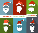 Flat Christmas icons with long shadow. Retro design.