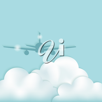 airplane silhouette above clouds. vector illustration - eps 10