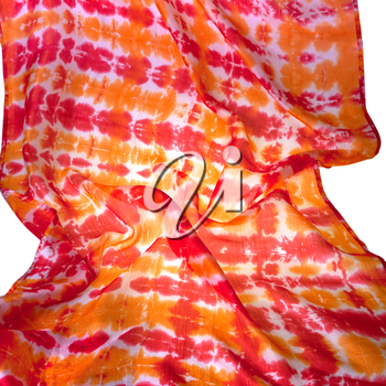 fragment silk batic scarf isolated on white