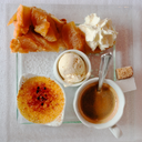 set of sweet dessert with cup of coffee, gourmet
