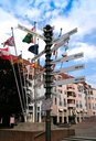 post with distances from Colmar to different world towns