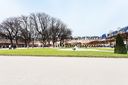 panorama of garden on Place Des Vosges in Paris
