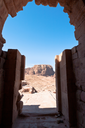 view from Urn Tomb to mountain dessert in Petra, Jordan