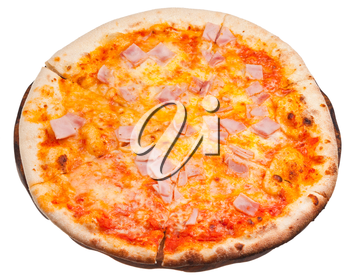 italian pizza with prosciutto cotto isolated on white background