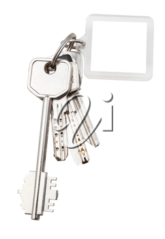 bunch of keys on steel ring and keychain isolated on white background