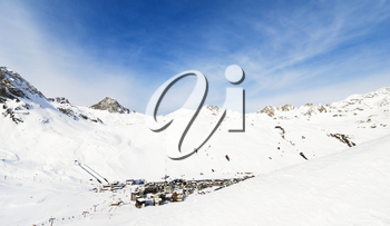 panorama with town Tighnes between snow mountains in Paradiski region, Val d'Isere - Tignes , France