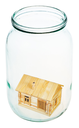 new village house in open glass jar