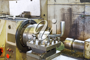 spindles of metal lathe machine in turning workshop