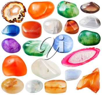 set of various crystalline agate natural mineral stones and gemstones isolated on white background