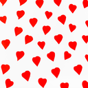 red hearts carved from paper on white background