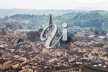 travel to Italy - above view of Florence city with Basilica di Santa Croce from Campanile