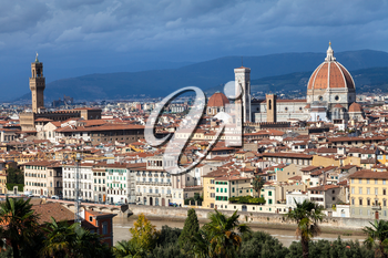 travel to Italy - skyline of Florence city with Duomo and Palazzo Vecchio from Piazzale Michelangelo