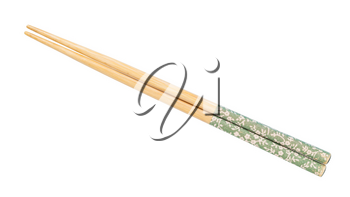 decorated wooden chopsticks put together isolated on white background