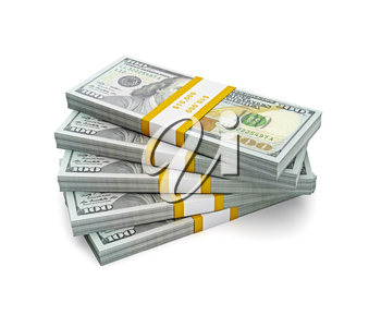 Royalty Free Clipart Image of Stacks of Money