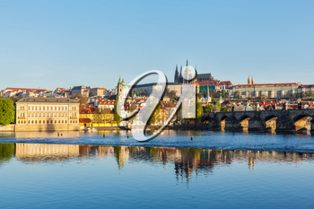 View of Mala Strana and  Prague castle over Vltava river. Prague, Czech Republic