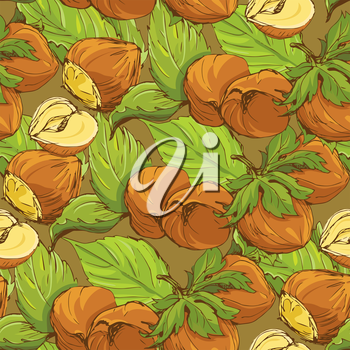 Seamless pattern with highly detailed handdrawn hazelnuts on brown background