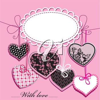 holiday background with black and pink ornamental hearts and oval frame for your text