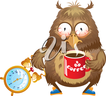 Early morning time - funny owl with cup of coffee and alarm clock in its hands
