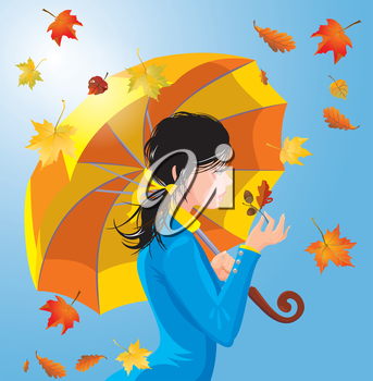 Girl with umbrella on blue sky background with leaves, autumn season.