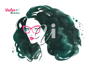 Fashion watercolor vector illustration. Portrait of a young woman wearing glasses.