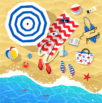 Vector summertime top view illustrations set on beach sand and sea water background.