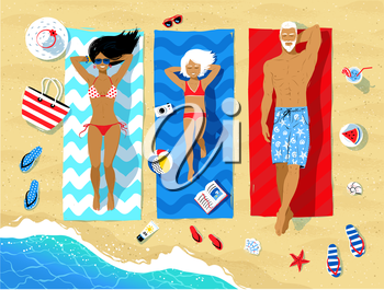 Vector illustration of family lying on beach and sunbathing with summer accessories and sea surf near them.