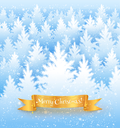 Christmas landscape background with falling snow, white spruce forest silhouette and red gold banner with garland.