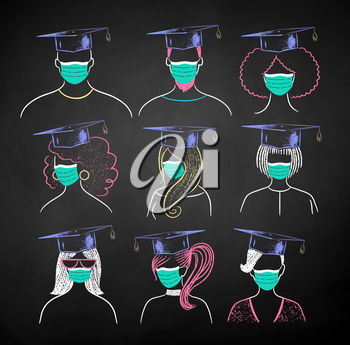 Vector color chalk illustration collection of new normal students wearing face masks and mortarboards on black chalkboard background.