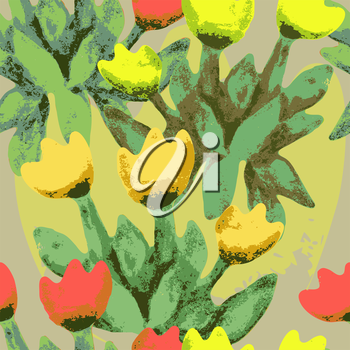 Vector graphics, artistic, stylized image of a seamless pattern watercolor bouquet tulips