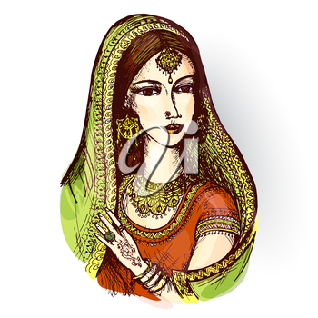 Vector drawing of an Indian woman in a sari