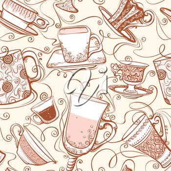 Seamless background with various ornate cups of tea/coffee.