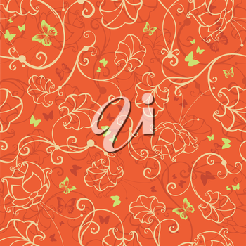 Seamless repeating tile with butterflies and flowers.