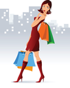 Illustration of brunette with purchases in hands.