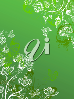 Green background with ornate flowers and butterflies and place for your text.