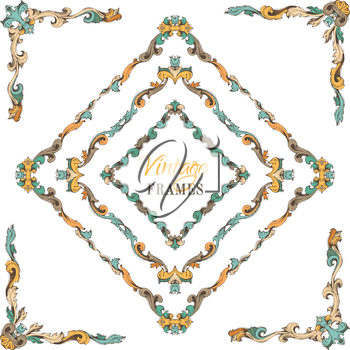 Retro hand-drawn frames and corners with retro ornament for page decoration. There is place for your text in the center.