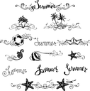 Vintage ornaments, page dividers and summer lettering for your tropical design.