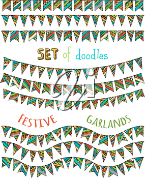 Doodles hand-drawn various garlands for your festive design.