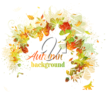 Bright autumn illustration. White leaf silhouette in the center can be used for your text.