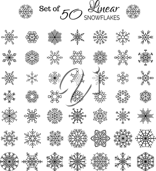 Vintage outlined snowflakes isolated on white background.