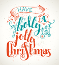 Grunge Merry Christmas lettering on old vintage background. Candy cane, Christmas baubles, ribbon and holly berry. Red and blue illustration.
