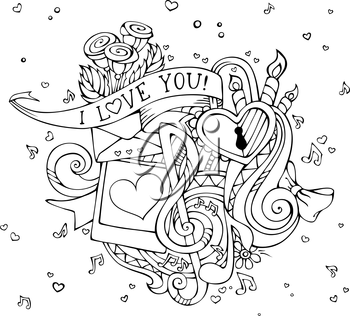 Outlined hand-drawn background. Music notes, hearts, lock, letter, ribbon, ring, roses, candles, swirls, photo with man and woman silhouettes.