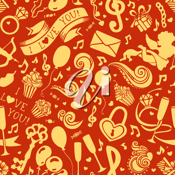 Cupid, ring, muffins, swirls and ribbons, balloons, key and others symbols. Can be used for web page backgrounds, wallpapers, wrapping papers and invitations.