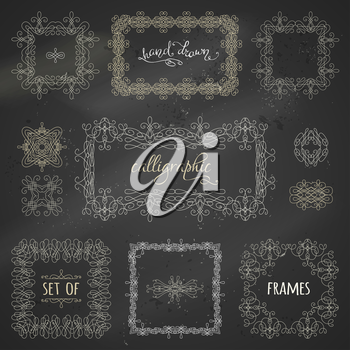 Vintage ornaments, design elements, flourishes, page decorations and dividers on blackboard background. Can be used for invitations and congratulations.