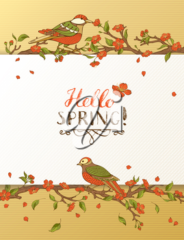 Red blossoms and birds on tree branches. Falling petals. Hand-written brush lettering. There is place for your text on white paper.